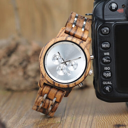 montre bois luxeor gris photo