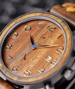 montre en bois tornado orange