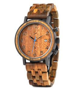 montre en bois tornado orange originale